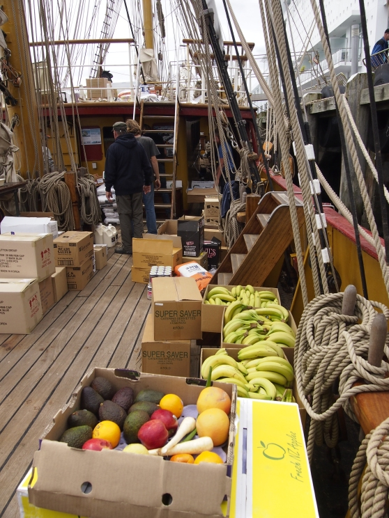 Bark Europa deck during provisioning, Auckland