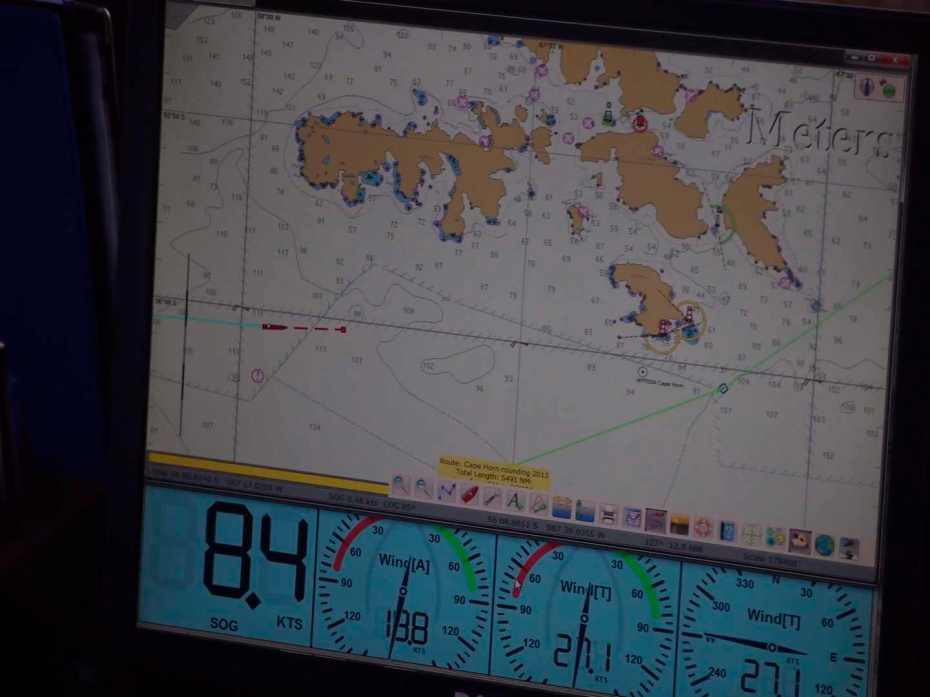 The ship's GIS shows Europa approaching Cape Horn