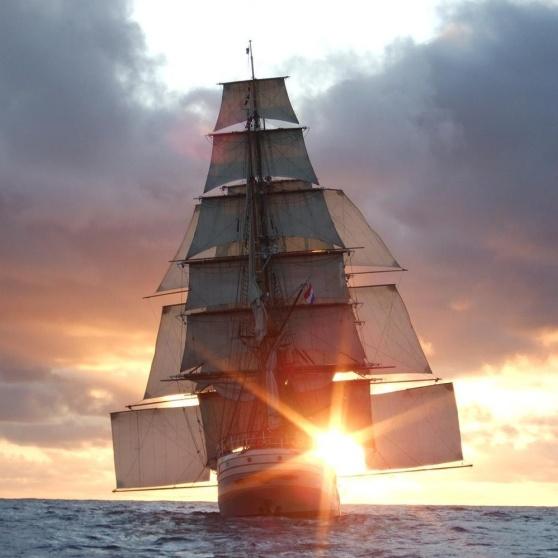 Bark Europa sails into the sunset