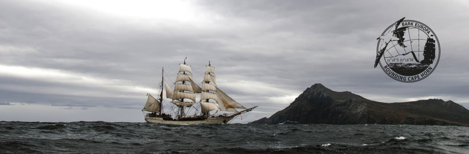 Europa approaches Cape Horn on a rare calm sea [Image from an earlier Cape Horn voyage]